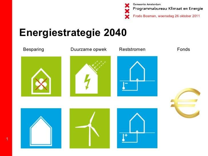 Energiestrategie 2040 Besparing Duurzame opwek Fonds Frodo Bosman, woensdag 26 oktober 2011 Reststromen