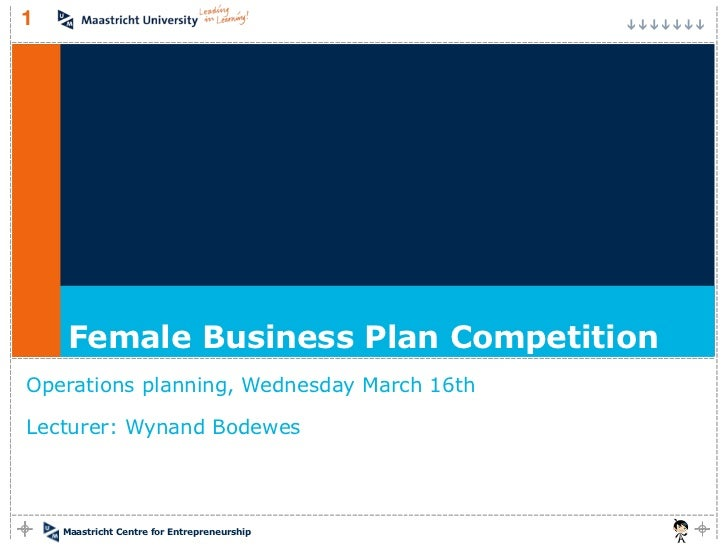 1     Female Business Plan CompetitionOperations planning, Wednesday March 16thLecturer: Wynand Bodewes    Maastricht Cent...