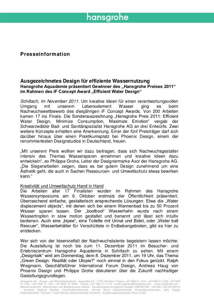 """PresseinformationAusgezeichnetes Design für effiziente WassernutzungHansgrohe Aquademie präsentiert Gewinner des """"Hansgroh..."""
