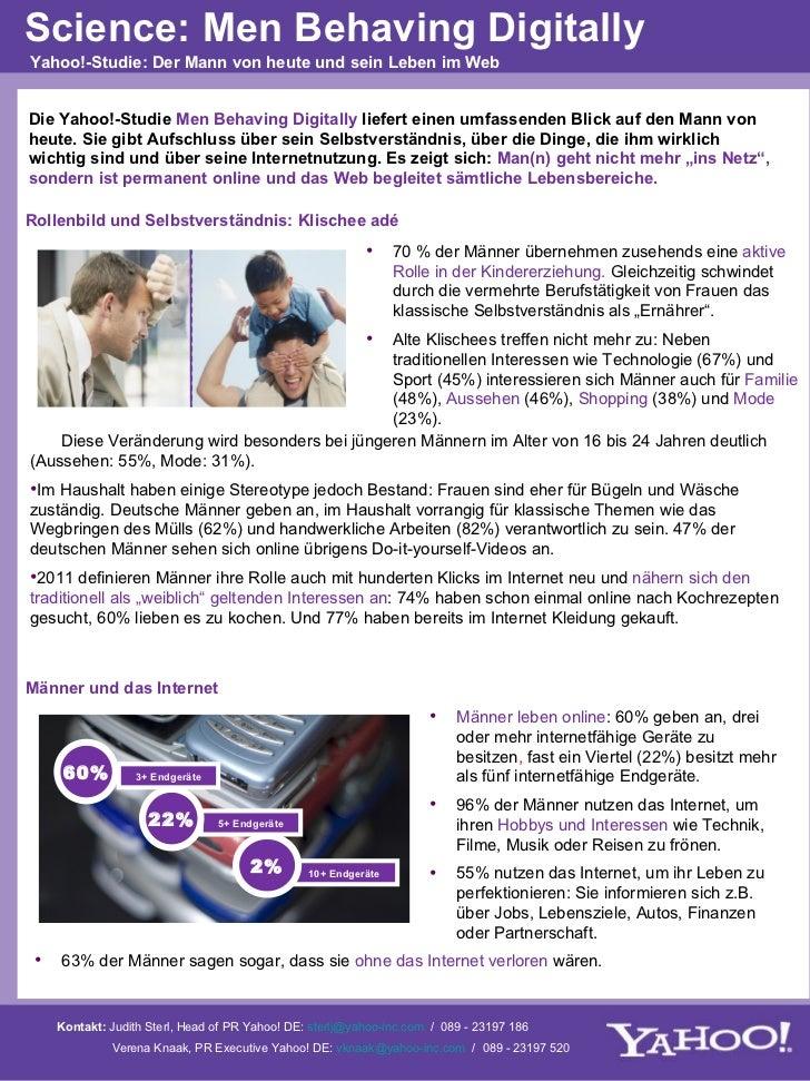 Die Yahoo!-Studie  Men Behaving Digitally  liefert einen umfassenden Blick auf den Mann von heute. Sie gibt Aufschluss übe...