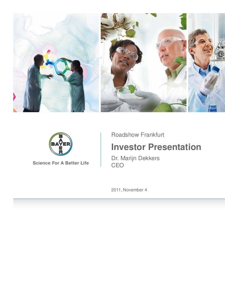 Bayer Investor Presentation Roadshow Frankfurt