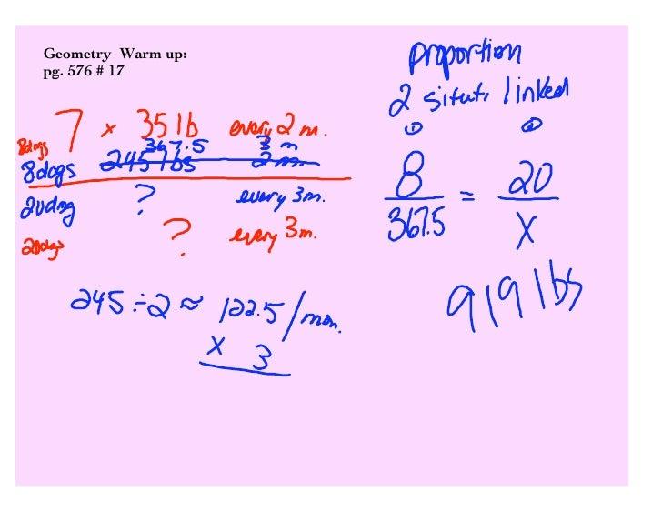Geometry Warm up: pg. 576 # 17