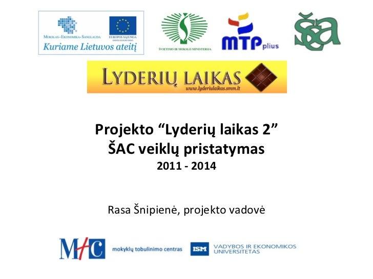 11 12 13 LL2 ŠAC veiklų pristatymas ŠMM