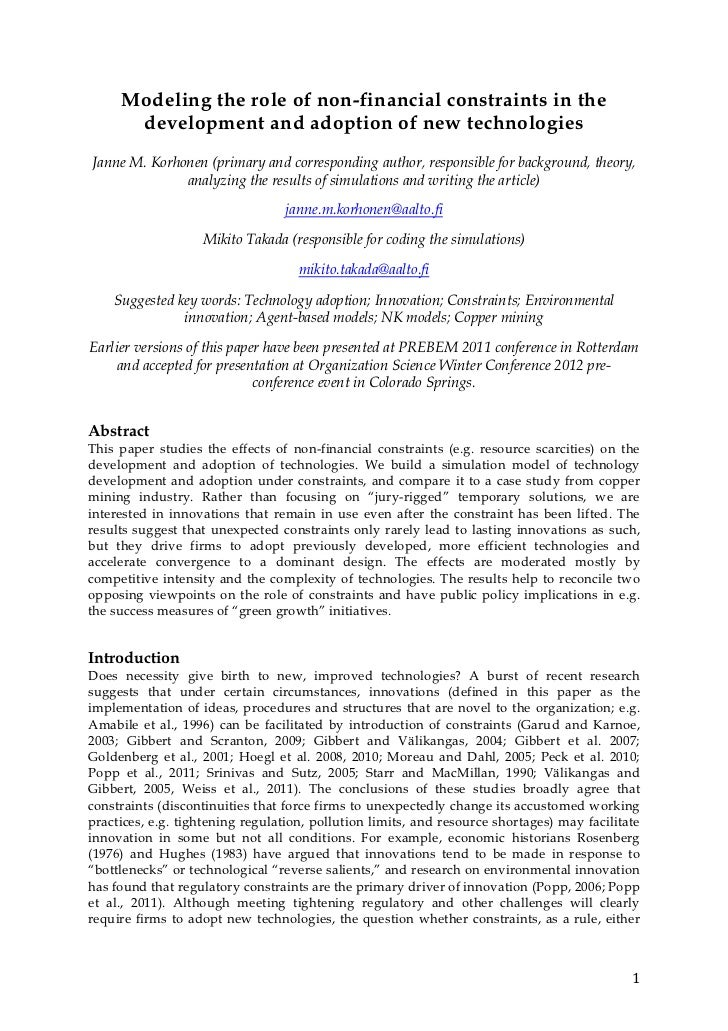 Modeling the role of non-financial constraints in the          development and adoption of new technologies     Janne M. K...