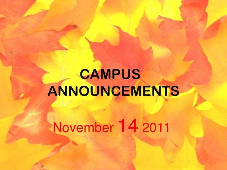 CAMPUSANNOUNCEMENTSNovember 14 2011