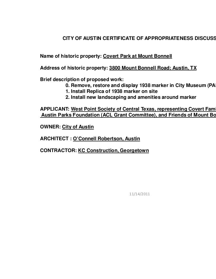CITY OF AUSTIN CERTIFICATE OF APPROPRIATENESS DISCUSSIONName of historic property: Covert Park at Mount BonnellAddress of ...