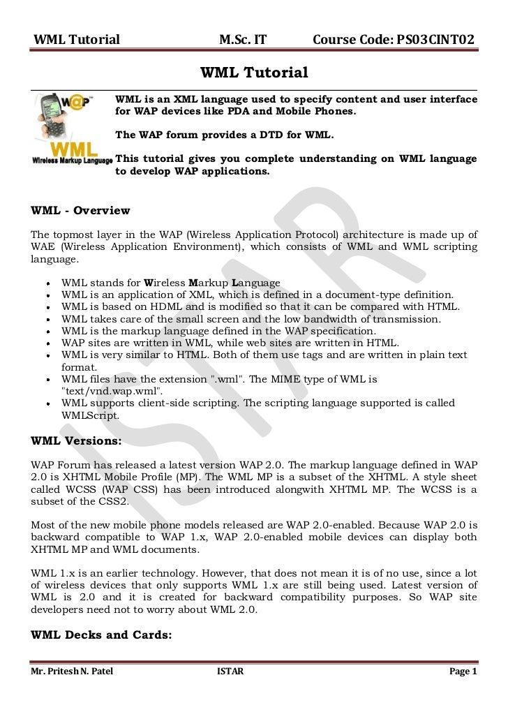 WML-Tutorial