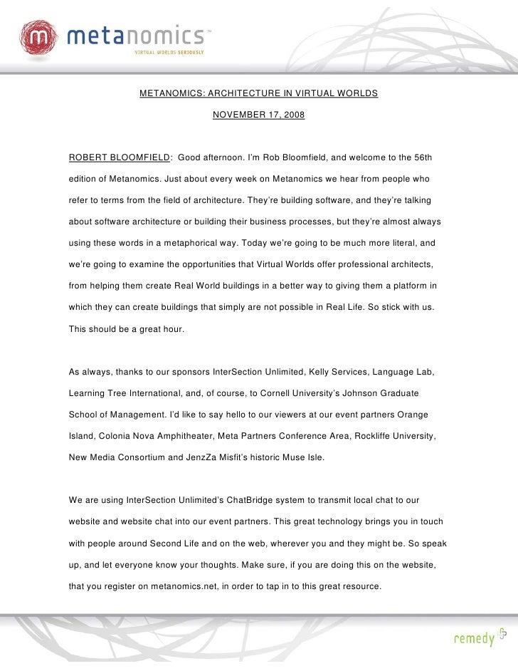 111708 Liquid Artifacts Metanomics Transcript