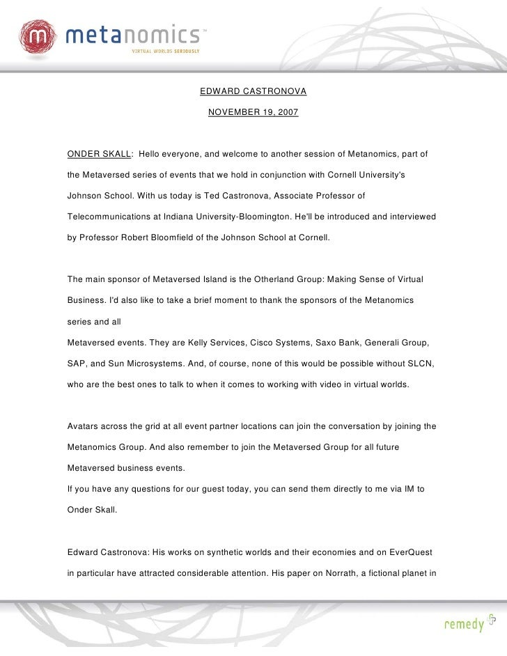 EDWARD CASTRONOVA                                      NOVEMBER 19, 2007    ONDER SKALL: Hello everyone, and welcome to an...
