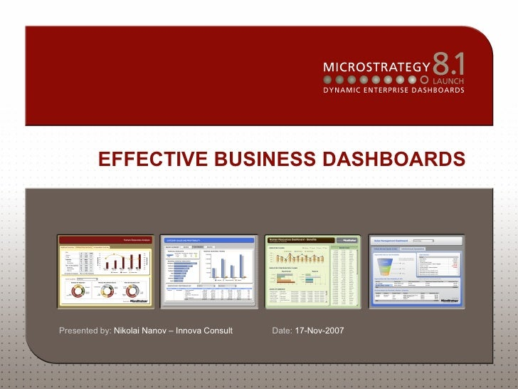 MicroStrategy - Effective Business Dashboards