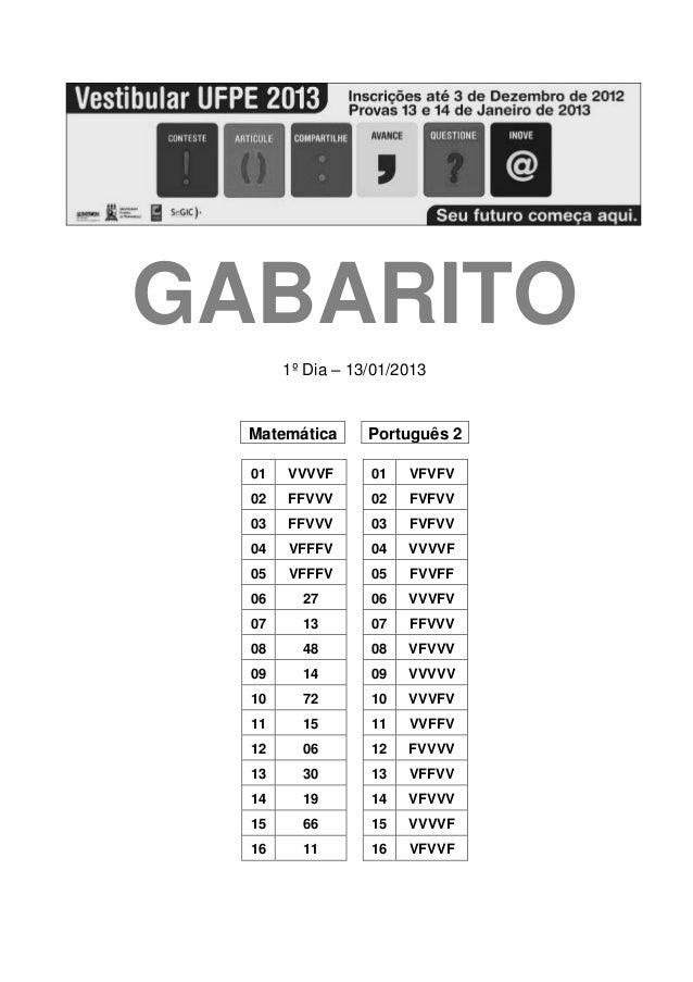GABARITO       1º Dia – 13/01/2013  Matemática      Português 2  01   VVVVF      01   VFVFV  02   FFVVV      02   FVFVV  0...