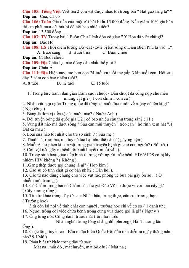 Câu 105: Tiếng Việt Viết tên 2 con vật được nhắc tới trong bài