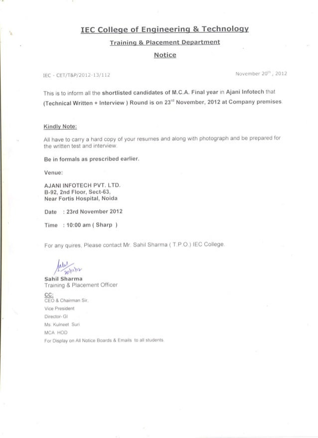 Dear Students,  This is to inform all the shortlisted candidates of M.C.A. Final year in Ajani Infotech that ( Technical W...
