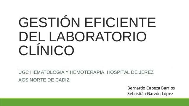 GESTIÓN EFICIENTE DEL LABORATORIO CLÍNICO UGC HEMATOLOGIA Y HEMOTERAPIA. HOSPITAL DE JEREZ AGS NORTE DE CADIZ Bernardo Cab...