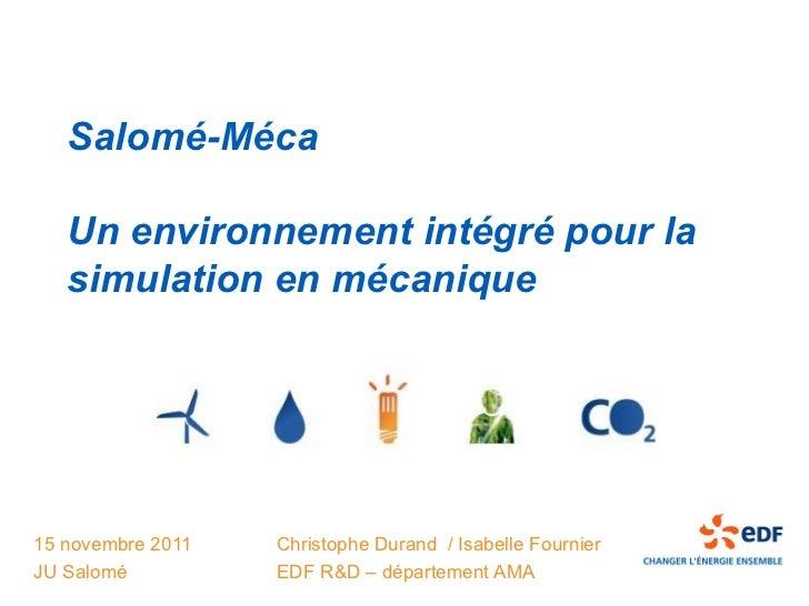Salomé-Méca   Un environnement intégré pour la   simulation en mécanique15 novembre 2011   Christophe Durand / Isabelle Fo...