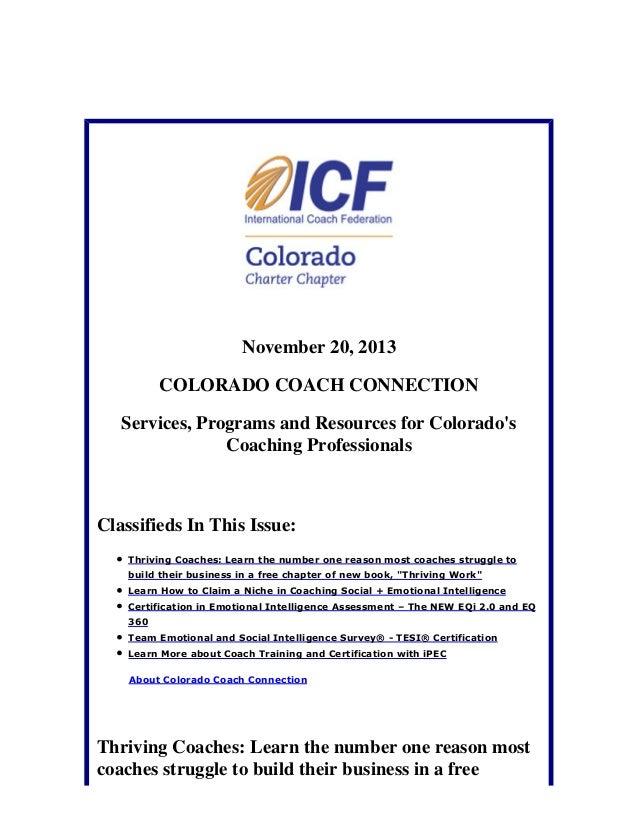 November 20, 2013 Colorado Coach Connection