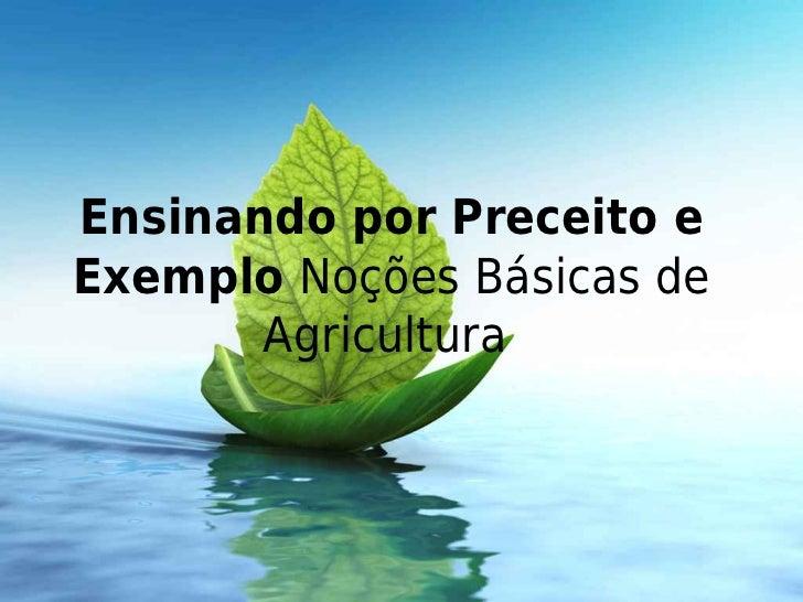 Ensinando por Preceito eExemplo Noções Básicas de       Agricultura