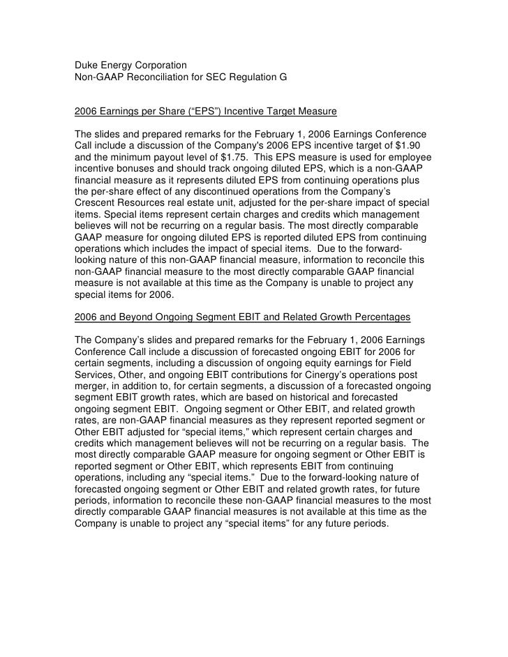 "Duke Energy Corporation Non-GAAP Reconciliation for SEC Regulation G   2006 Earnings per Share (""EPS"") Incentive Target Me..."