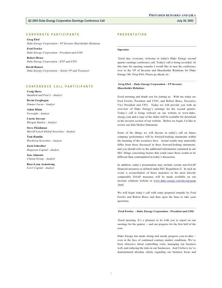 Duke Energy finaltranscript7/30/03