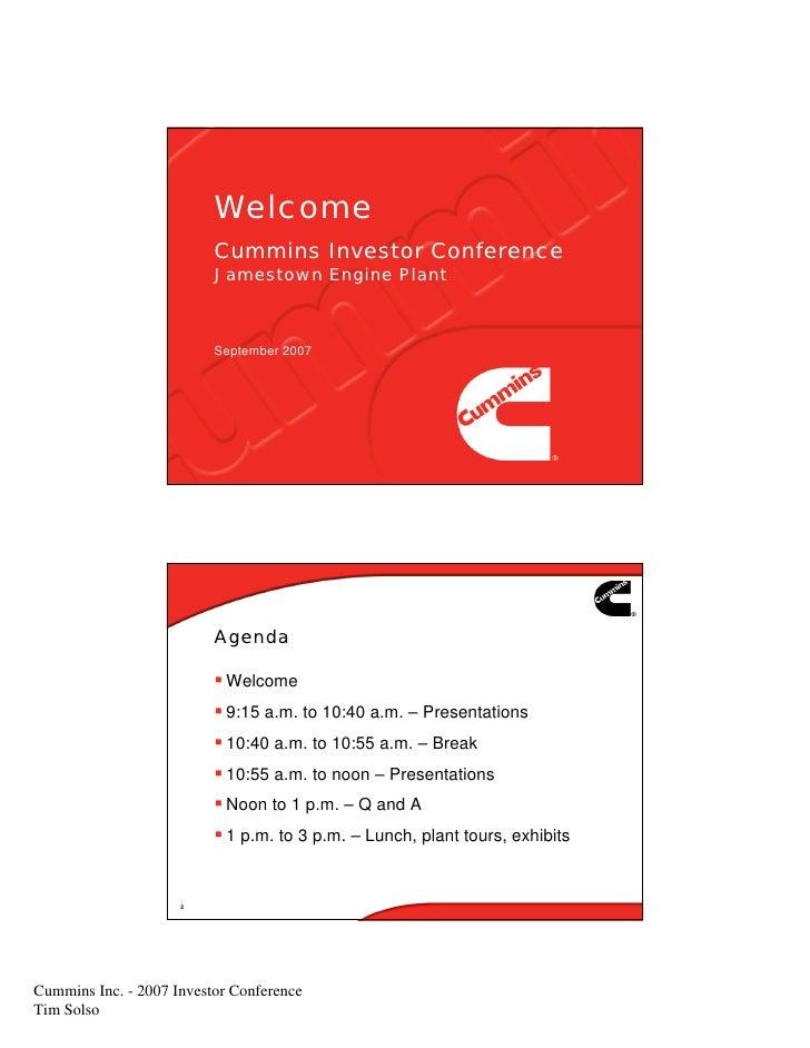 Welcome                           Cummins Investor Conference                           Jamestown Engine Plant            ...