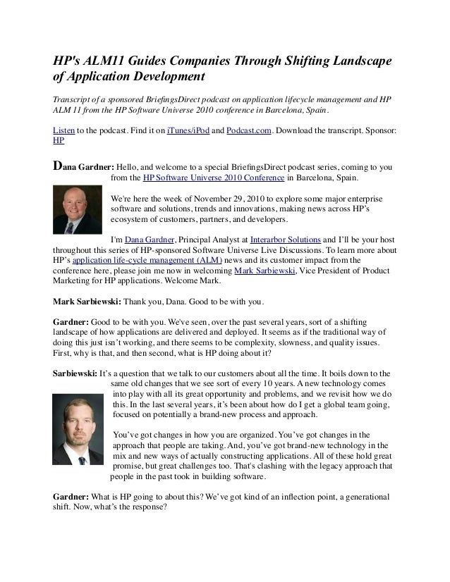 HP's ALM11 Guides Companies Through Shifting Landscape of Application Development Transcript of a sponsored BriefingsDirect...