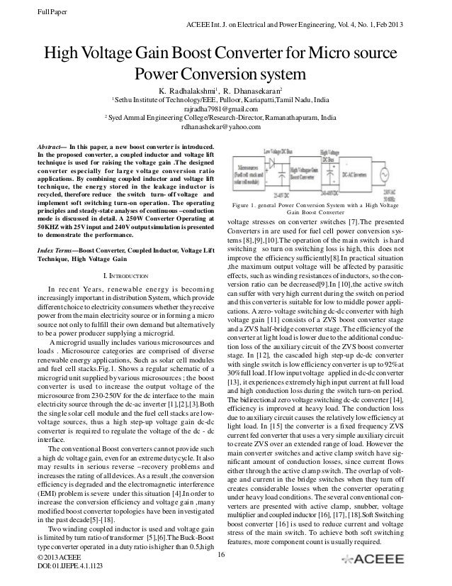 High Voltage Gain Boost Converter for Micro source Power Conversion system