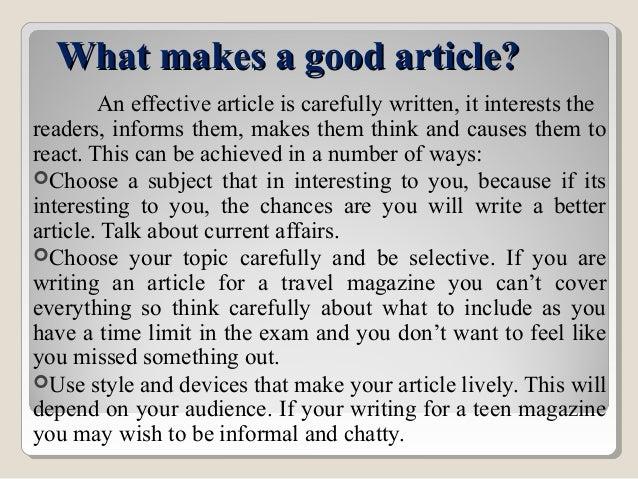 A good article