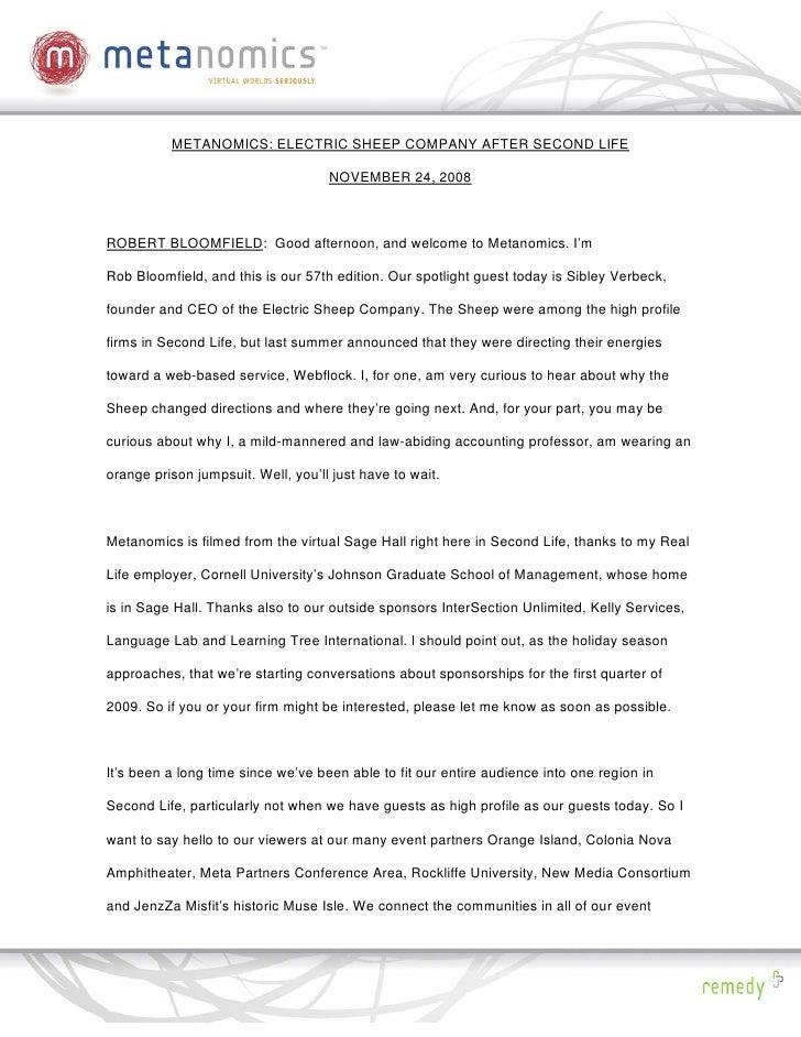 METANOMICS: ELECTRIC SHEEP COMPANY AFTER SECOND LIFE                                      NOVEMBER 24, 2008    ROBERT BLOO...