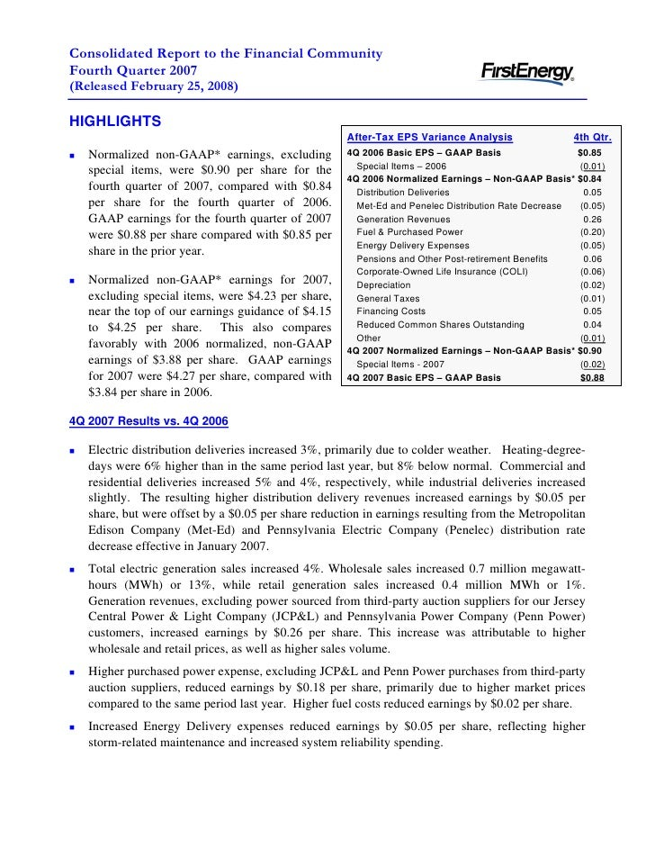 Consolidated Report to the Financial Community Fourth Quarter 2007 (Released February 25, 2008)  HIGHLIGHTS               ...