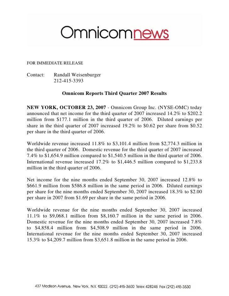 omnicom group  Q3 2007 Earnings Release (