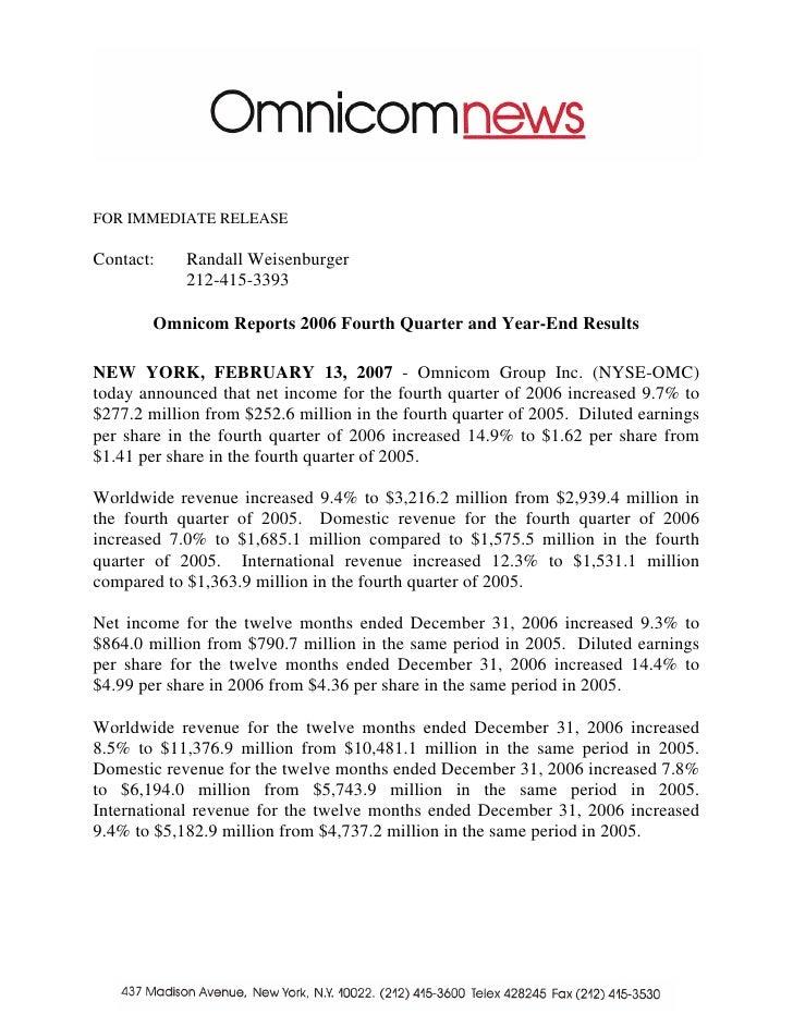 omnicom group  Q4 2006 Earnings Release