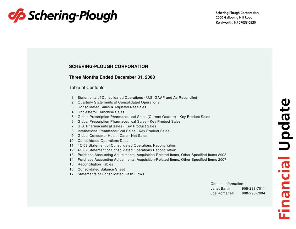 SCHERING-PLOUGH CORPORATION  Three Months Ended December 31, 2008  Table of Contents   1   Statements of Consolidated Oper...