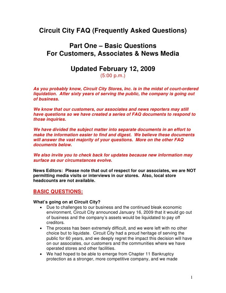 Circuit City FAQ (Frequently Asked Questions)              Part One – Basic Questions       For Customers, Associates & Ne...