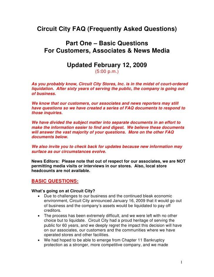 FAQ Part 1 - Basic Questions (Revised 2/12/09 5:00 pm ET)