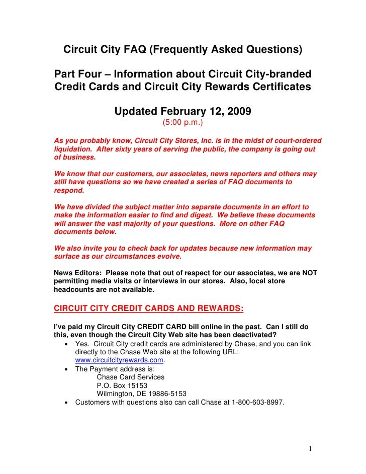 Circuit City FAQ (Frequently Asked Questions)  Part Four – Information about Circuit City-branded Credit Cards and Circuit...