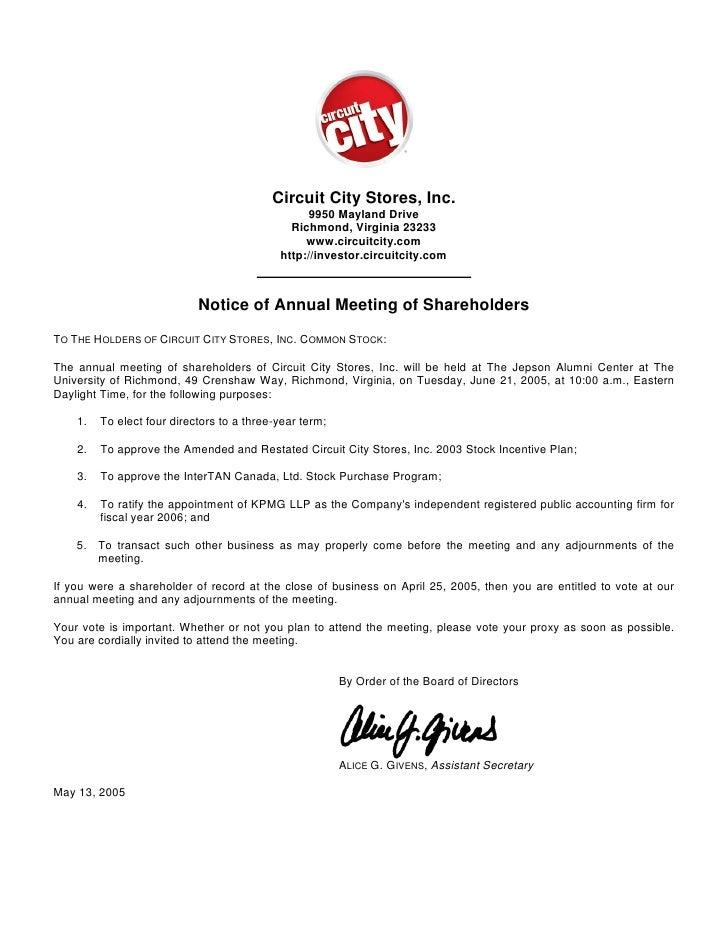 circuit city stores 2005 Proxy Statement