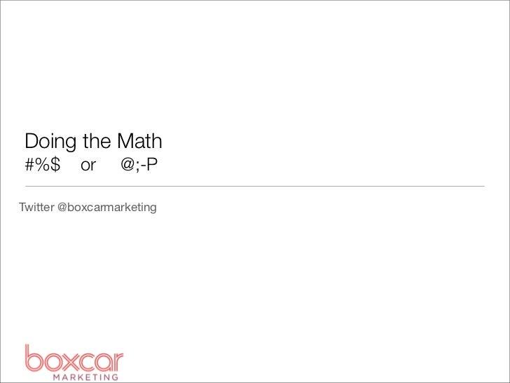 Pub355: Doing the Math – Online Marketing KPIs