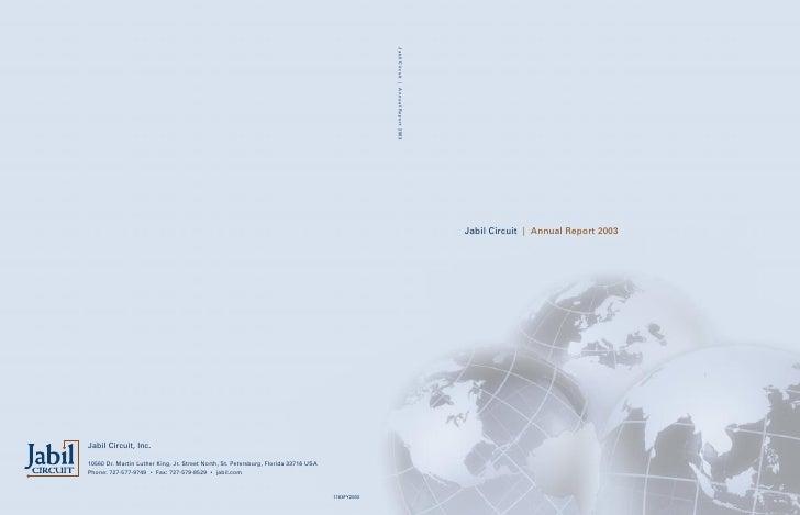 jabil circuit Annual Report 2003