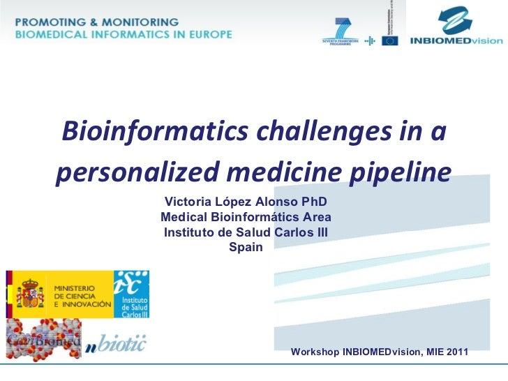 Victoria López Alonso PhD Medical Bioinformátics Area Instituto de Salud Carlos III Spain Bioinformatics challenges in a p...