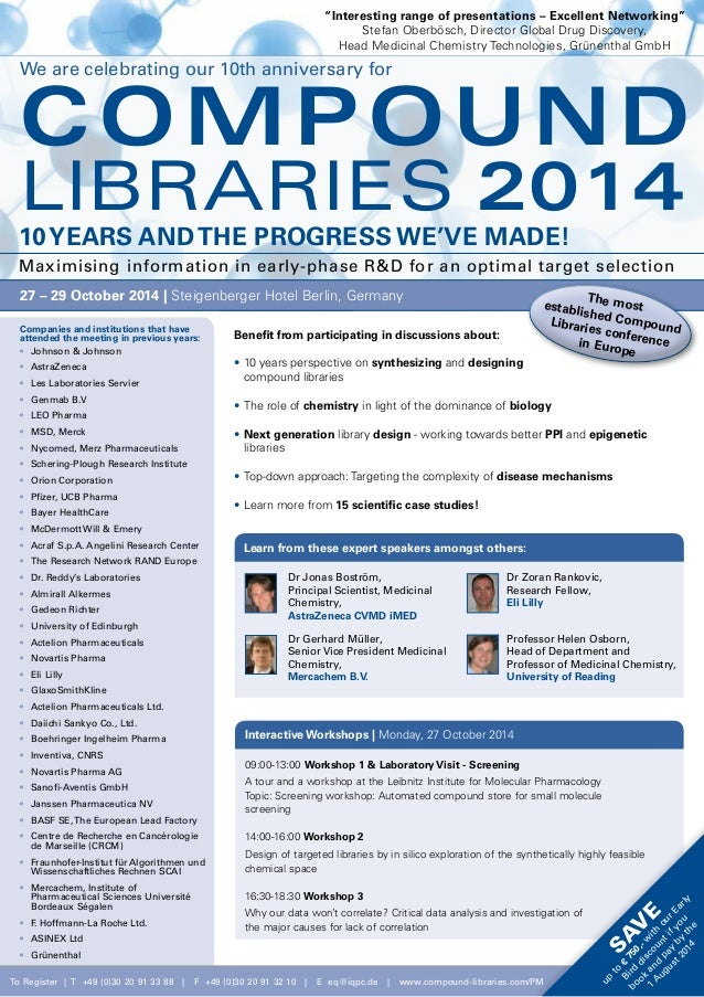 10th Compound Libraries Conference  - 27 - 29 October, 2014 - Hotel Palace Berlin, Berlin, Germany