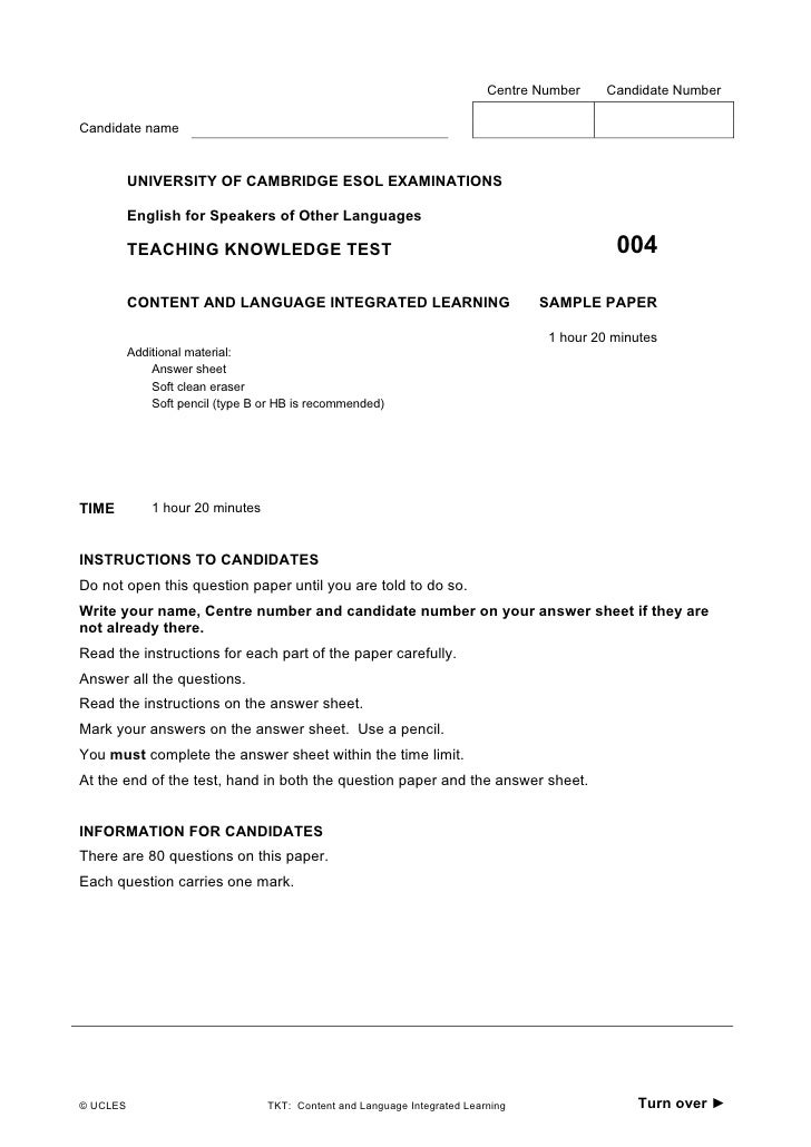 Centre Number    Candidate NumberCandidate name          UNIVERSITY OF CAMBRIDGE ESOL EXAMINATIONS          English for Sp...