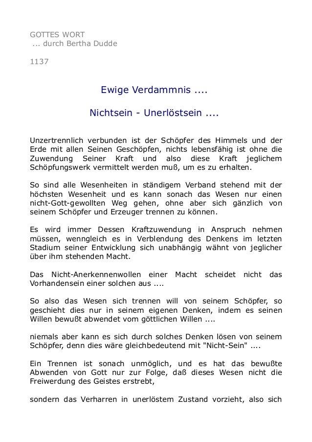 GOTTES WORT ... durch Bertha Dudde 1137 Ewige Verdammnis .... Nichtsein - Unerlöstsein .... Unzertrennlich verbunden ist d...