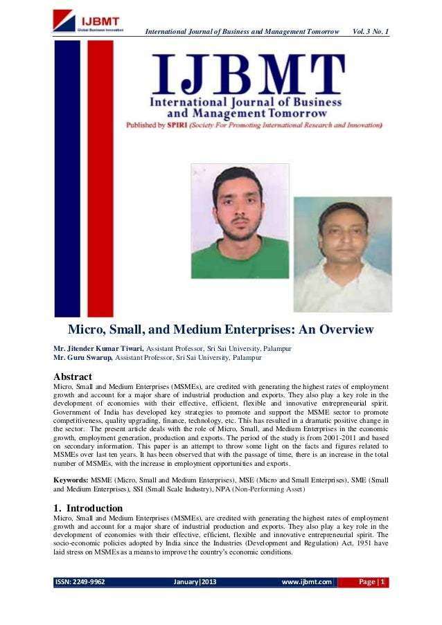 International Journal of Business and Management Tomorrow            Vol. 3 No. 1    Micro, Small, and Medium Enterprises:...