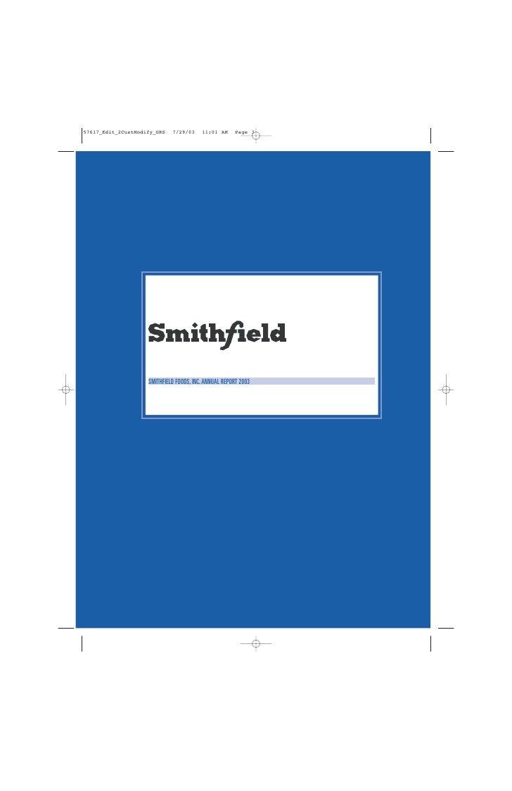 SMITHFIELD FOODS, INC. ANNUAL REPORT 2003