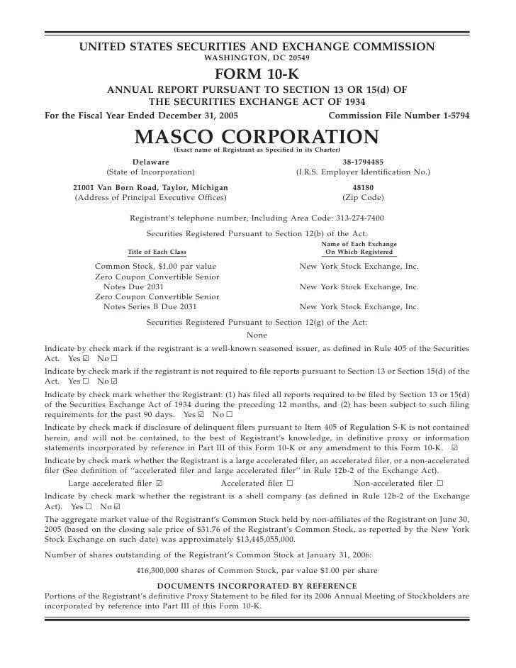 Masco10-K2005
