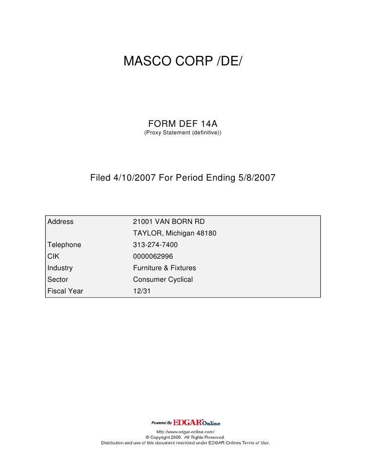 masco Proxy Statements 2007