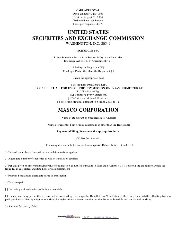 masco Proxy Statements 2003-