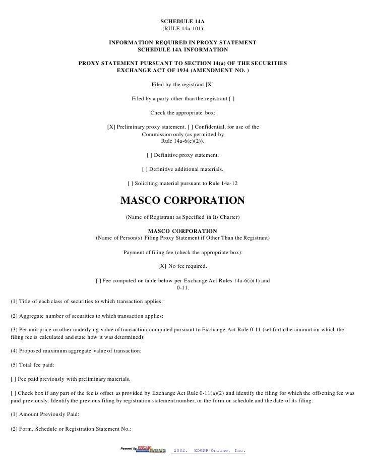 masco Proxy Statements 2001-