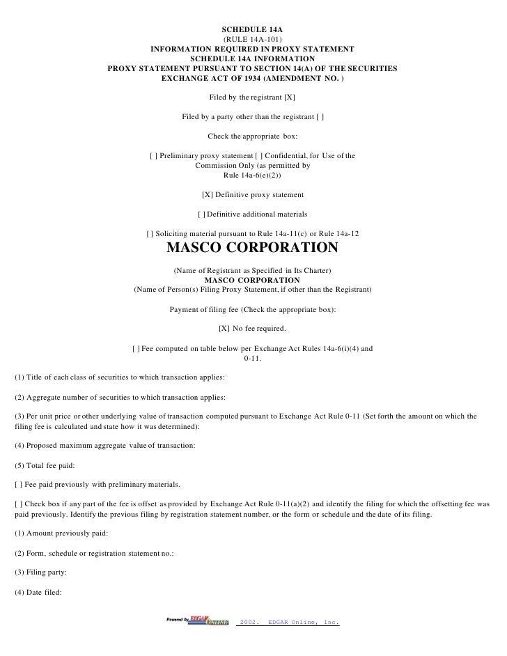 masco Proxy Statements 1999-