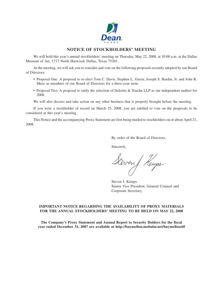 NOTICE OF STOCKHOLDERS' MEETING     We will hold this year's annual stockholders' meeting on Thursday, May 22, 2008, at 10...